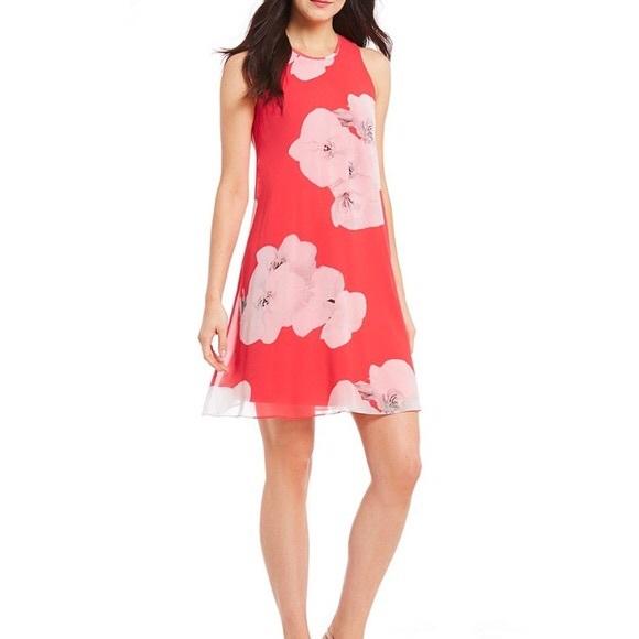fb588b63bd1f Calvin Klein Dresses   Pink Floral Chiffon Trapeze Dress   Poshmark